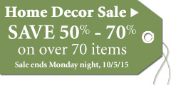 Save 50%-70% on select Home Accents thru Monday 10/5/15!