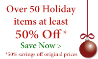 Save at least 50% on over 50 holiday accents!