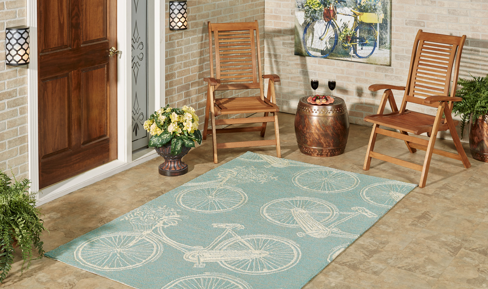 Get the Look - Vintage Bicycle Blue Patio Entry