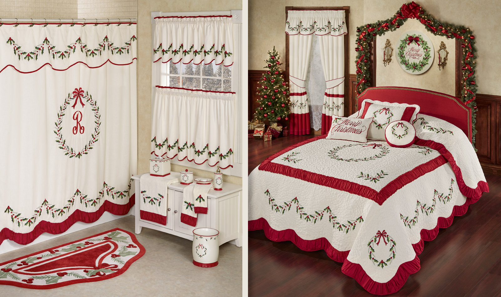 Get The Look - Holly Wreath Holiday Bedroom