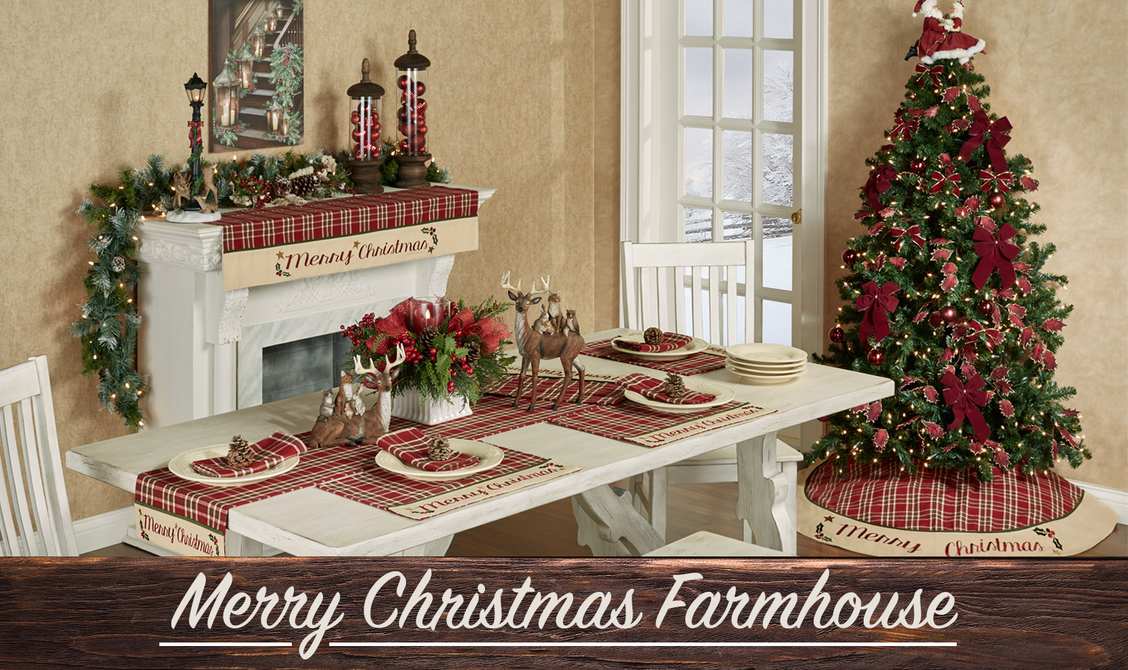 Get The Look - Merry Chrsitmas Farmhouse Dining Room