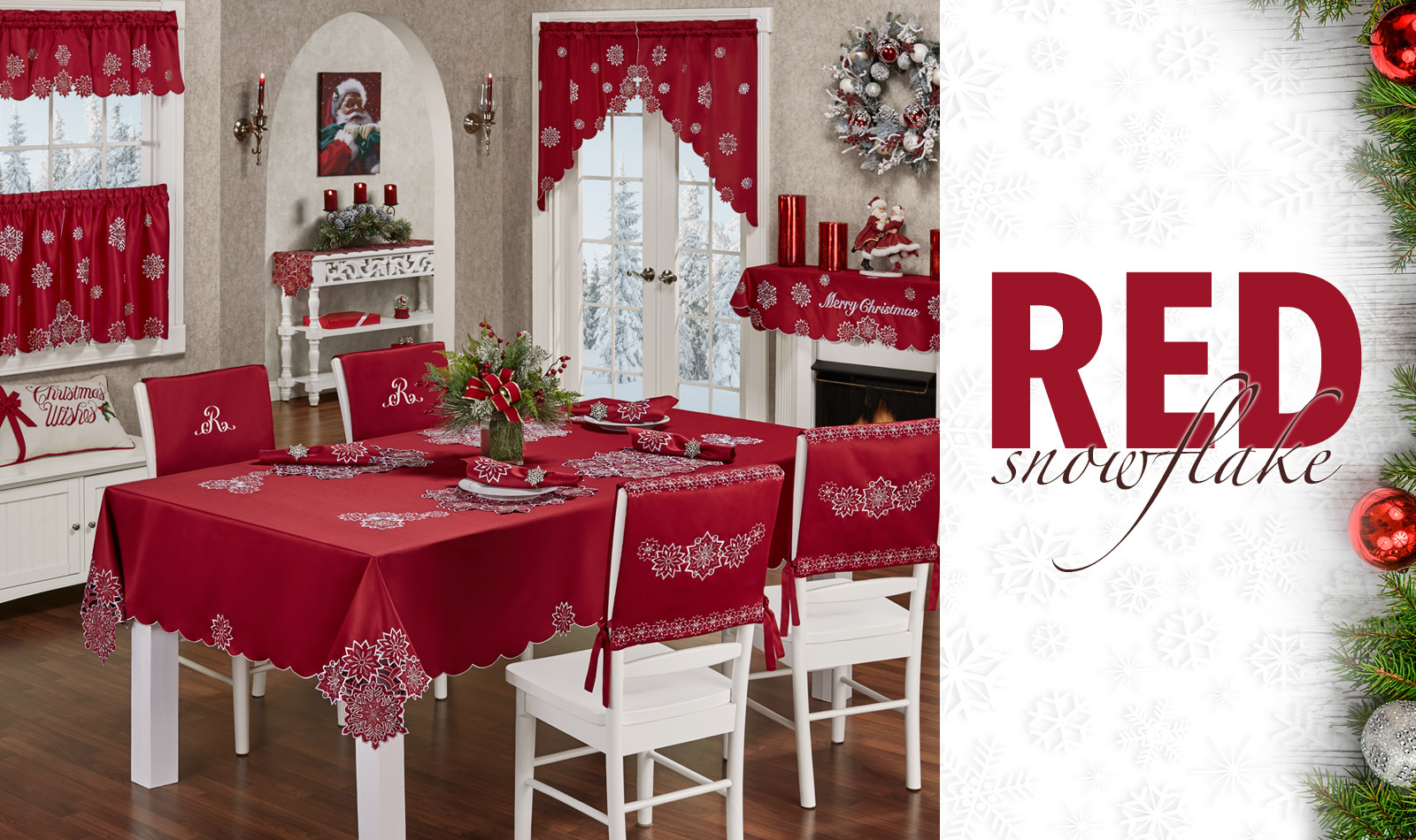 Get The Look - Red Snowflake Holiday Dining Room