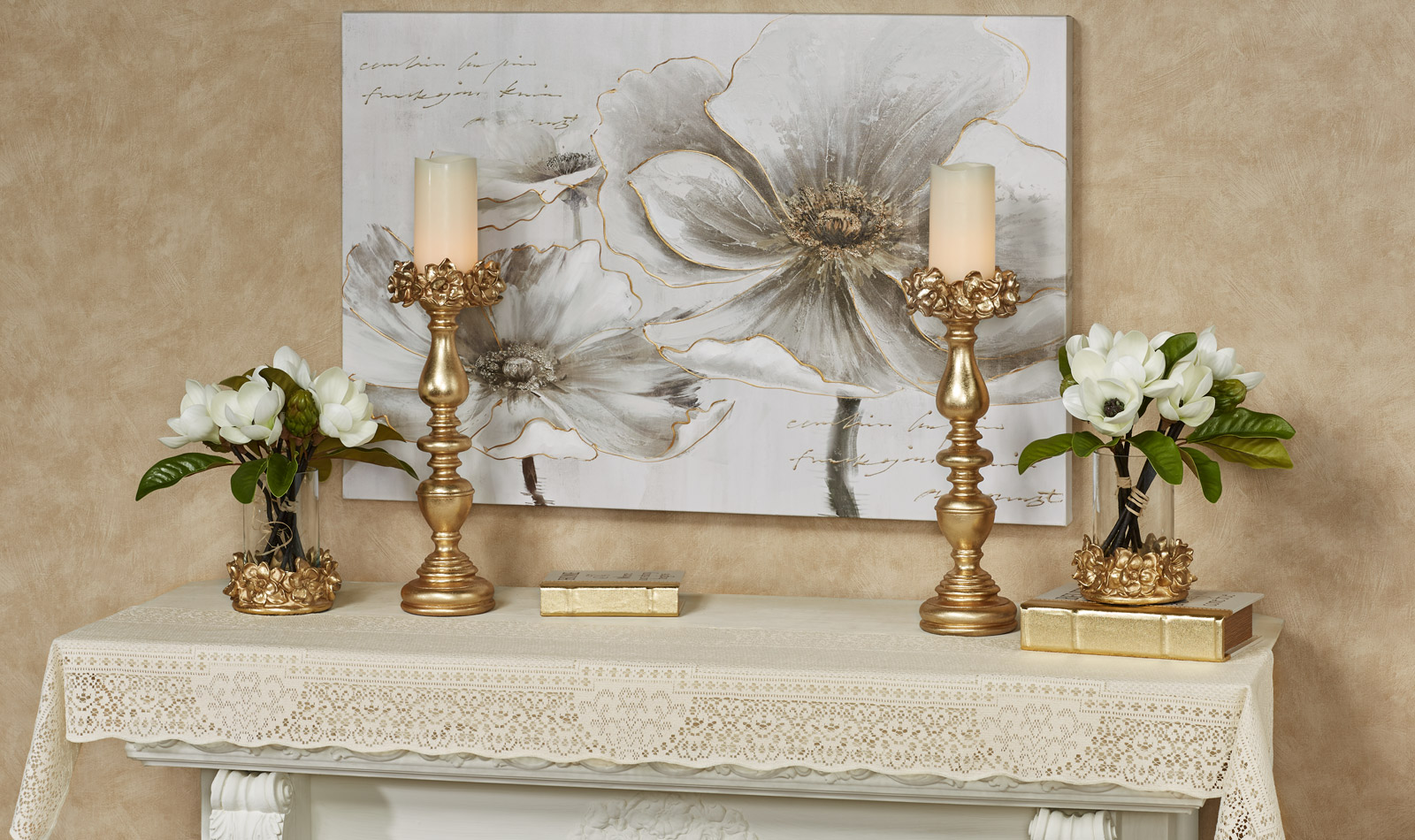 Canterbury Lace Fireplace Mantel