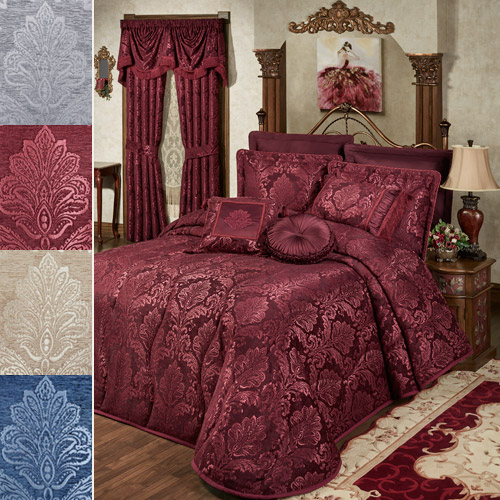 Camelot Satin Damask Bedspread in four colors