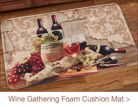 Wine Gathering Memory Foam Cushioned Kitchen Mat