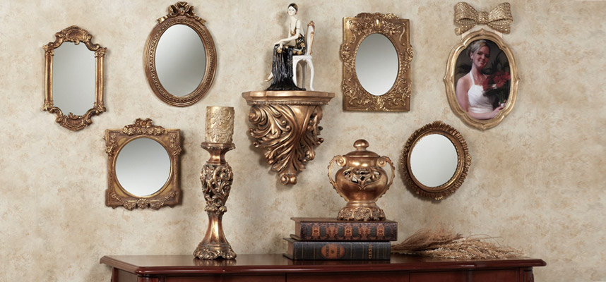 Wall Shelf with Mirrors