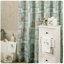 Spa Shells Shower Curtain and Hooks