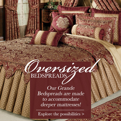 Shop our Oversized Bedspreads that accommodate deeper mattresses