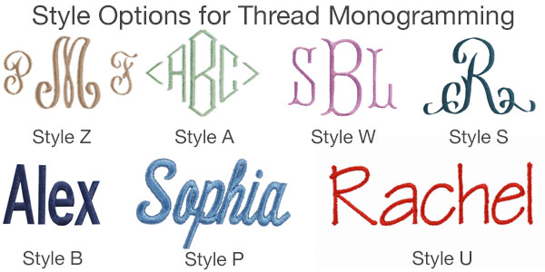 Style Options for Thread Monogramming