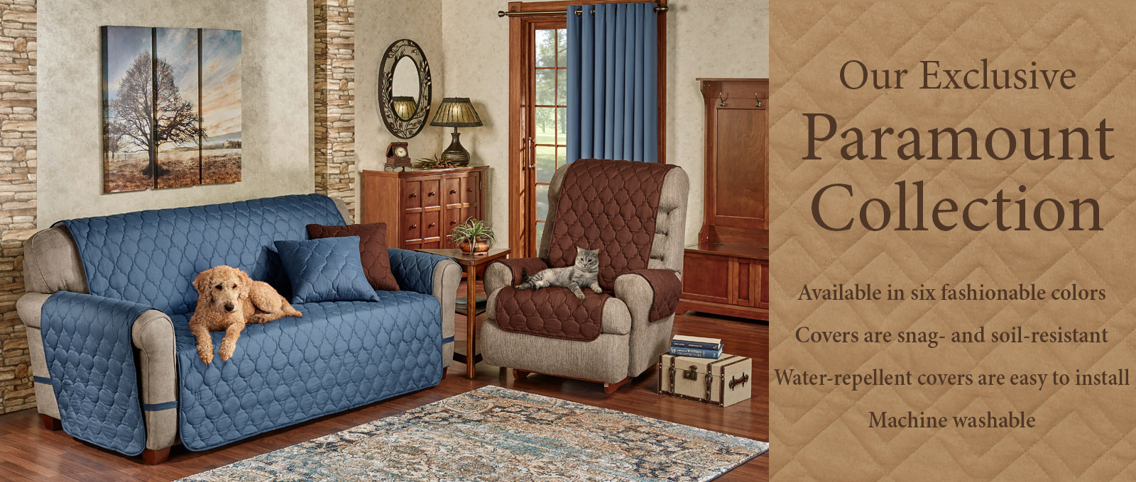 Paramount Furniture Cover Collection in Slate Blue and Chocolate