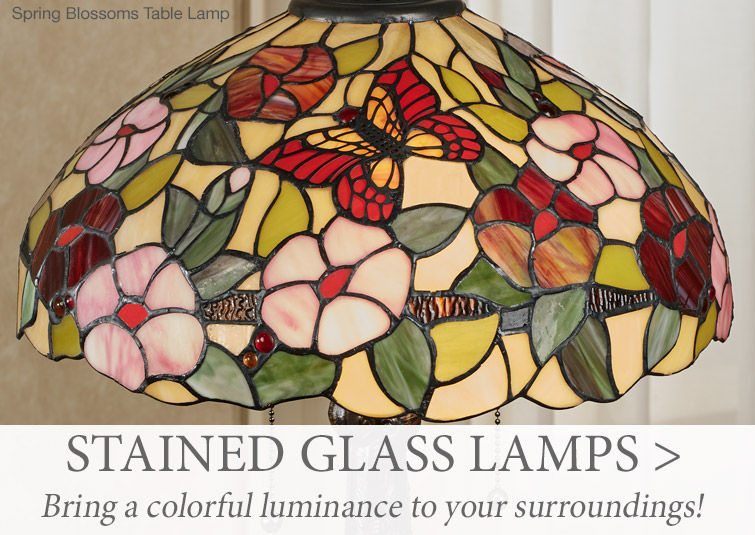 Bring a colorful luminance to your surroundings with Stained Glass Lamps >