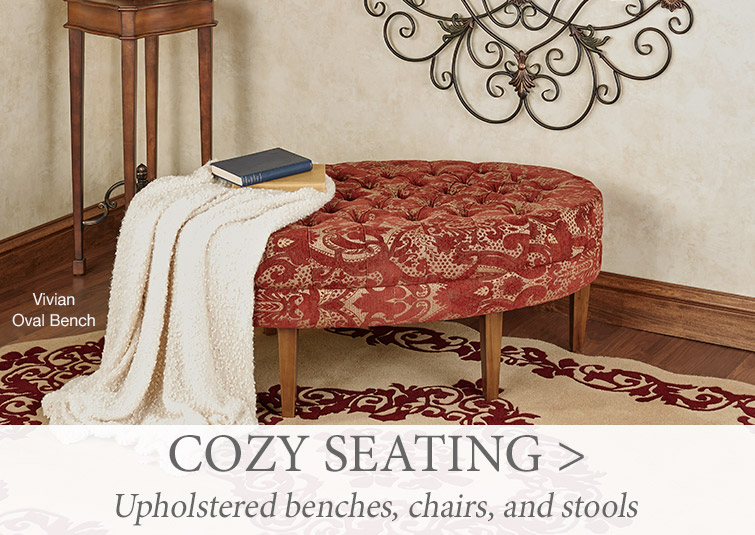 Shop cozy seating, including upholstered benches and chairs or vanity and bar stools.