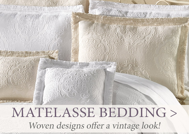 Create vintage appeal in your boudior with Matelasse Bedding