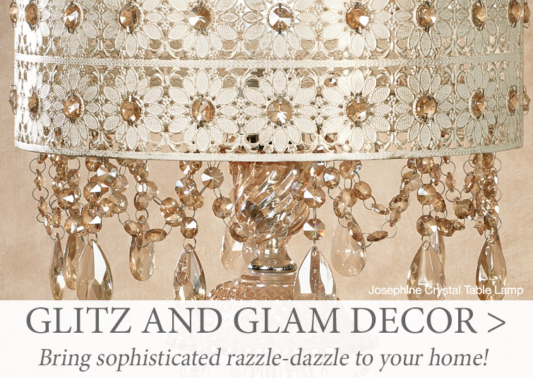 Bring sophisticated razzle-dazzle to your home with Glitz and Glam decor >