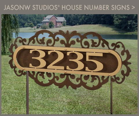 JasonW Studios House Number Wall Signs and Yard Stakes