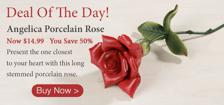 Save 50% on the Deal Of The Day: Angelica Red Long Stemmed Porcelain Rose
