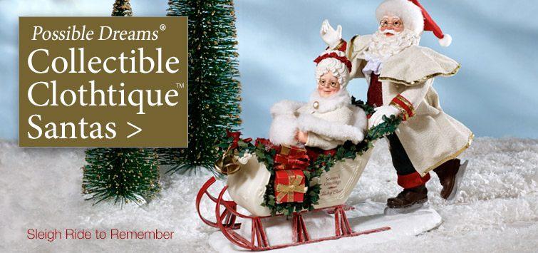 Collectible Clothtique Santas by Possible Dreams