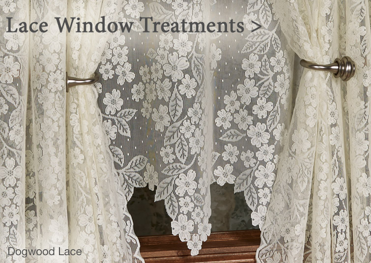 Shop our lovely selection of lace curtains in many colors and lengths