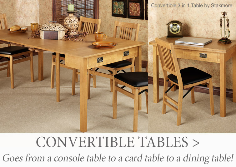 Convertible 3 in 1 Table goes from a console table to a card table to a dining table