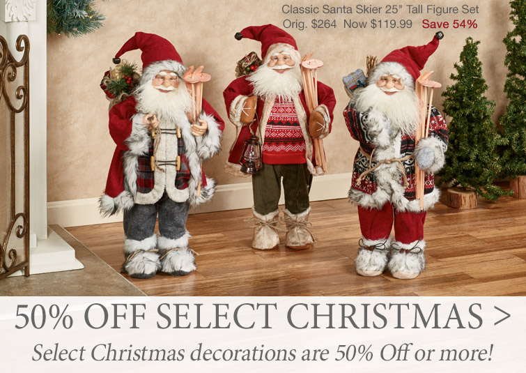 Select Christmas decorations are now 50% off or more. Shop now >