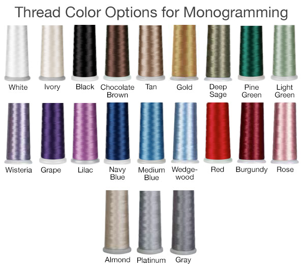 Thread Color Options for Monogramming