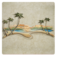 Tropical Caribbean Sunset Metal Wall Sculpture by J Warren