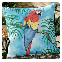 Indoor Outdoor Tropical Parrot Accent Pillow