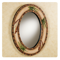Tropical Island Palmetto Oval Wall Mirror