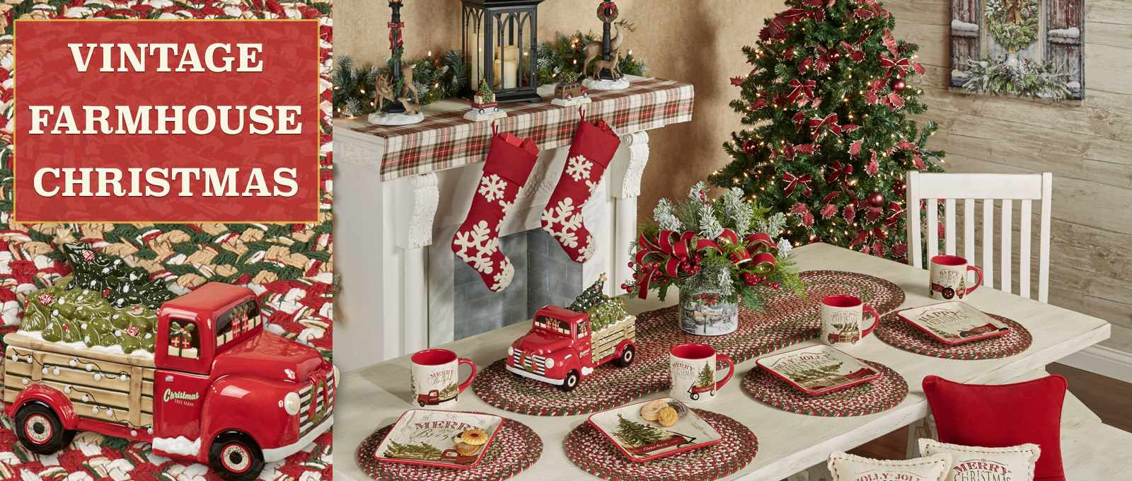 Vintage Farmhosue Christmas Dining Room