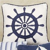 Nantucket Dream Ship Wheel 14 Square Pillow Blue 14 Square