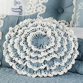 Reminisce Ruffled Round Pillow Sterling Blue Round