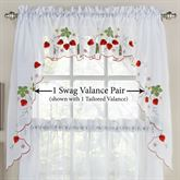 Wild Strawberry Semi Sheer Swag Valance Pair Red 58 x 36
