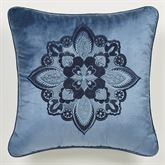 Arabelle Embroidered Pillow Blue 18 Square