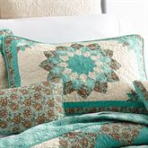 Sea Breeze Dahlia Blossom Quilted Sham Turquoise Standard