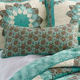 Sea Breeze Dahlia Quilted Pillow Turquoise Rectangle