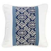 St. Clair Medallion Piped Pillow Midnight Blue 18 Square