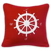 St. Clair Ship Wheel Compass Pillow Red 18 Square