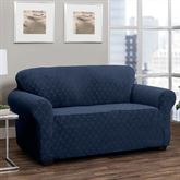 Helix Stretch Slipcover Midnight Blue Loveseat