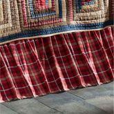 Braxton Cabin Gathered Bedskirt Dark Red