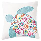 St Kitts Sea Turtle Embroidered Pillow Multi Bright 18 Square