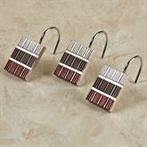 Modern Line Burgundy Shower Hook Set Set of Twelve