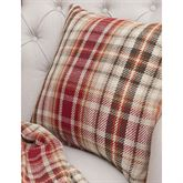 Autumn Bloom Plaid Tailored Pillow Multi Warm 18 Square