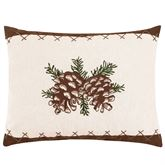 Lookout Lodge Embroidered Pine Cone Pillow Natural Rectangle