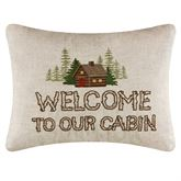 Lookout Lodge Embroidered Cabin Pillow Natural Rectangle