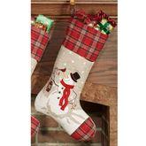 Plaid Snowman Stocking Red