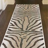 Selous Zebra Rug Runner Sand 111 x 76