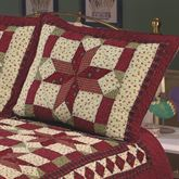Scarlet Patchwork Quilted Sham Dark Red Standard