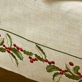 Holiday Holly Tablecloth Natural