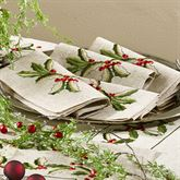 Holiday Holly Napkins Natural Set of Four