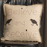 Kettle Grove Believe Embroidered Pillow Multi Warm 18 Square